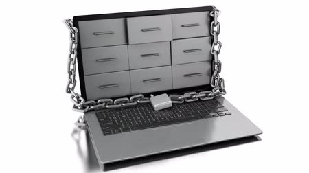 3d animation. Laptop with padlock. Data security concept. 4K resolution
