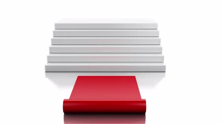 3d animation. Empty white podium with red carpet. Success concept. 4K resolution.