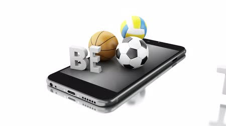 3d animation. Smartphone with sport balls and bet live. Betting concept. 4K resolution.