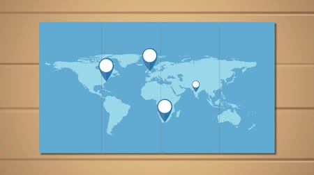 avançar : World map with pin pointers on wooden background. World Travel concept. HD animation