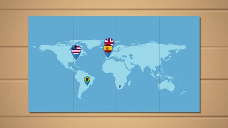 čepy : World map and map pointer with flags. GPS navigator location and travel concept. HD animation