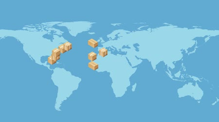 USA map with Cardboard Boxes. Global logistics, shipping and worldwide delivery business concept. HD animation.