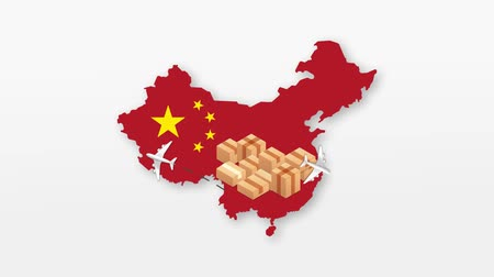 China map with cardboard boxes. Global Shipping and online shopping concept. HD animation. Vídeos