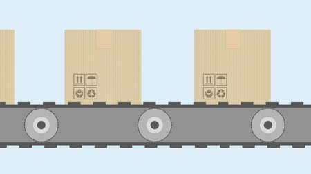 Animation of cardboard boxes on conveyor belt. Packages delivery and transportation system concept.