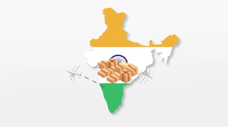 correio : India map with cardboard boxes. Global Shipping and online shopping concept. HD animation. Stock Footage