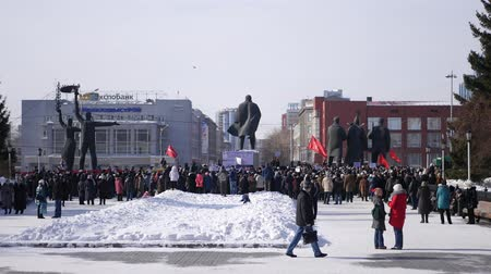 восстание : Novosibirsk, Russia, February 25, 2017 meeting with the red flag on the square about raising prices for public services to citizens