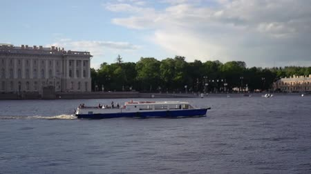 annunciation : A pleasure boat sails up the Niva, along beautiful palaces. slow motion. 1920x1080. full hd.