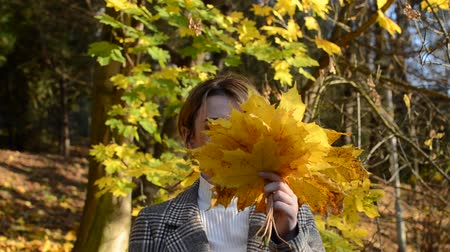 Cute young cheerful and happy girl hides her face behind a yellow maple leaf in autumn park Stock mozgókép