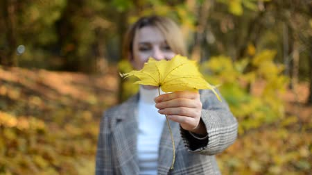 Cute young cheerful and happy girl hides her face behind a yellow maple leaf in autumn park Stock Footage