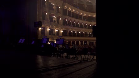 assentos : view of the hall, from the stage in the opera house, in front of the concert Stock Footage