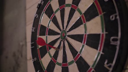 finom : Close up shot of a dart board. Darts arrow Missing the target on a dart board during the game.