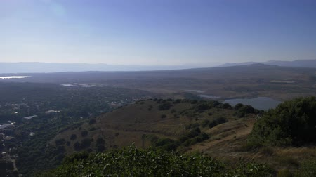 kippur : Israel Golan Heights - July 21, 2019 panoramic view from the Israeli Golan Heights with a view of Libya Stock Footage
