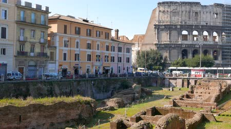 colloseum : Ludus Magnus. Rome, Italy - February 20, 2015: the most ambitious gladiator school in Ancient Rome. UltraHD 4K Stock Footage