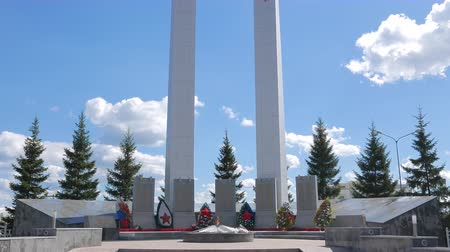 ekaterinburg : Memorial complex Cranes, Pyshma, Ekaterinburg, Russia - August 16, 2015 Museum of military equipment Battle Glory of the Urals. UltraHD 4K Stock Footage