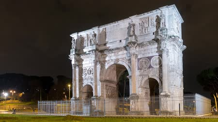costantino : Arch of Constantine. Night. Zoom. Rome. Italy. Time Lapse
