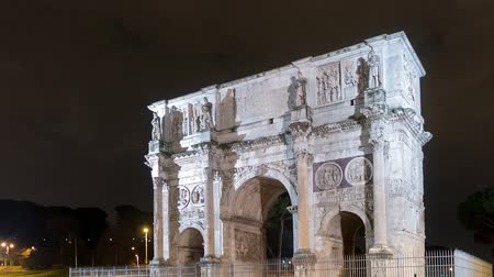 costantino : Arch of Constantine at night. Zoom. Rome. Italy. TimeLapse