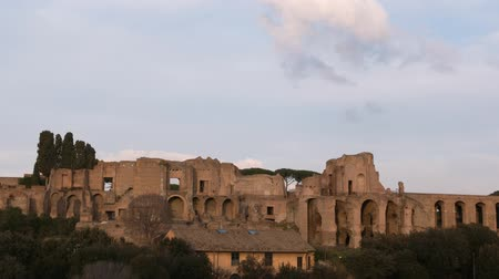 palatine : Ruins of Palatine hill palace in Rome. SunSet. Italy. Time Lapse Stock Footage