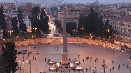 rzym : Piazza del Popolo. Egyptian obelisk. Time Lapse. Rome, Italy Wideo