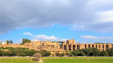 palatine : Ruins of the Palatine Hill is the centermost of the Seven Hills. TimeLapse, Rome, Italy