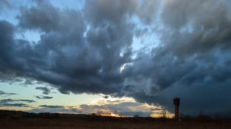 time lapse clouds : Storm clouds at sunset. Fixed distortion. Time Lapse