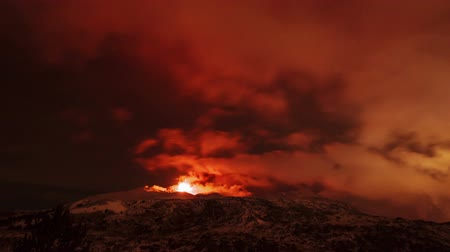 geological feature : Etna Eruption at night. Sicily, Italy. Time Laps