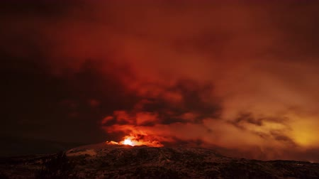 geological feature : Etna Eruption at night. Sicily, Italy. Time Laps. UltraHD 4K Stock Footage