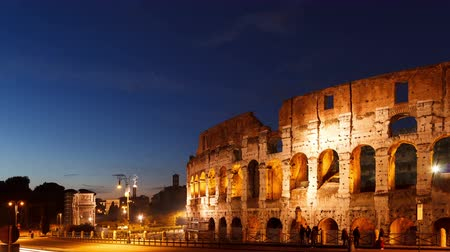 time journey : Colosseum at sunset. Rome, Italy. Time Lapse. UltraHD 4K