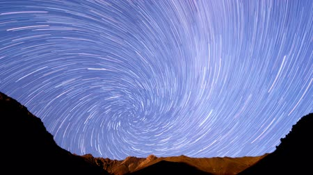 к северу : Milky Way in the mountains. Spiral. Time Lapse