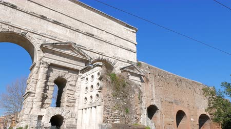 aurelian : Larger Gate. Piazzale Labicano. Rome, Italy.  Stock Footage