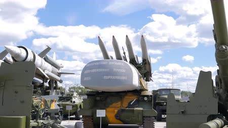 anti war : Antiaircraft missile launcher Buk. Pyshma, Ekaterinburg, Russia - August 16, 2015 Museum of military equipment Battle Glory of the Urals. UltraHD 4K Stock Footage