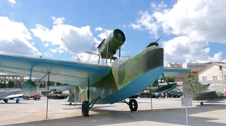 hydroplane : The Near Sea Scout MBR-2 mod. 1936. Pyshma, Ekaterinburg, Russia - August 16, 2015 Museum of military equipment Battle Glory of the Urals. UltraHD 4K Stock Footage