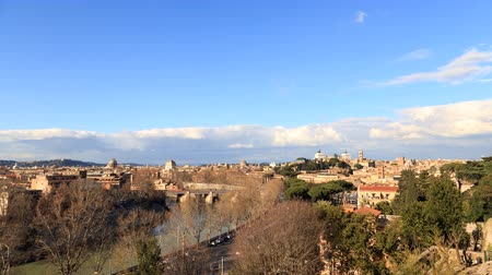 panoramic view : River Tibr, view from the Giardino degli Aranci. Rome, Italy. Time Lapse. UltraHD 4K