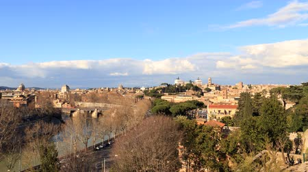 roma : View from the Giardino degli Aranci. Panorama. Rome, Italy. TimeLapse. UltraHD 4K Stok Video