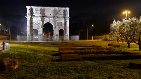 costantino : Arch of Constantine at night. Rome. Italy. UltraHD 4K Stock Footage