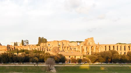 palatine : Ruins of Palatine hill palace in Rome, Italy. SunSet. TimeLapse
