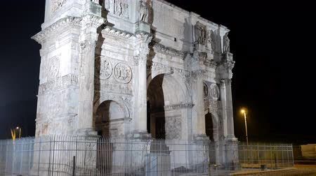 costantino : Arch of Constantine. Night. Rome. Italy. UltraHD 4K Stock Footage