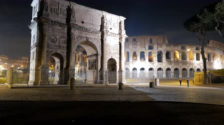 costantino : Arch of Constantine and Colosseum. Night. Rome. Italy. UltraHD 4K