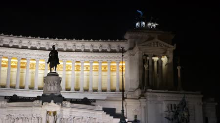 night : Monumento a Vittorio Emanuele II. Night. Rome, Italy. UltraHD 4K Stock Footage