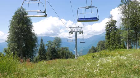 gazprom : Do not move the Chair lift above ski slope. Sochi, Russia. UltraHD 4K Stock Footage