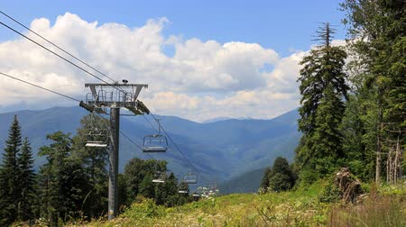 gazprom : Cable lift in the summer. TimeLapse. Plateau Laura, Sochi, Russia. UltraHD 4K