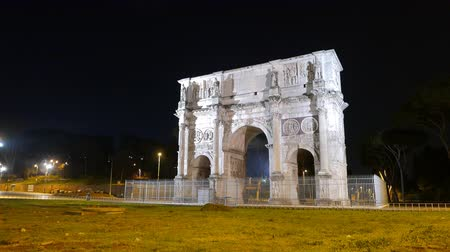 costantino : Arch of Constantine. Night. Rome. Italy. UltraHD (4K)