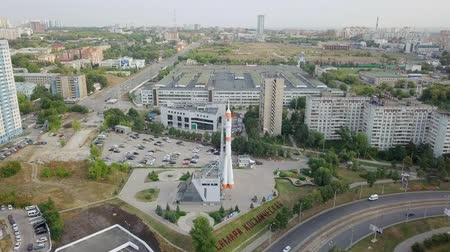 ruský : Russia, Samara - September 14, 2017: The Museum and Exhibition Center Samara Space. Monument of the carrier rocket Soyuz. Samara-city hosting the FIFA World Cup in Russia 2018, From Dron, Point of interest