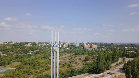 stella : Memorial complex Cranes in Victory Park on Sokolova mountain in Saratov - a monument to Saratovites who died in the Great Patriotic War of 1941-1945, From Dron