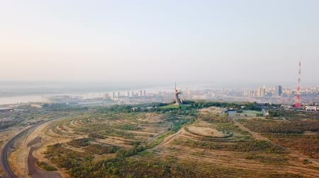 kard : Sculpture The Motherland Calls! - compositional center of the monument-ensemble to the Heroes of the Battle of Stalingrad on Mamayev Kurgan. Early morning. Volgograd, Russia, From Dron, Point of interest