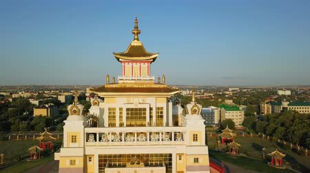 buddhista : The golden abode of Buddha Shakyamuni at sunrise is the largest Buddhist temple in the Republic of Kalmykia, one of the largest Buddhist temples in Europe. Elista, Russia, From Dron, Unveiling shot