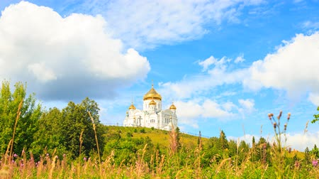 ural : Belogorsky St. Nicholas Orthodox-Missionary Monastery. Russia, Perm Territory, White Mountain. Time Lapse