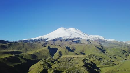 ágil : Elbrus from the north in the summer. Aerial view. Kabardino-Balkaria, Russia, From Dron, Departure of the camera