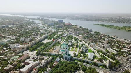 astrakhan : Aerial view of the Astrakhan Kremlin, historical and architectural complex. Russia, Astrakhan, From Dron