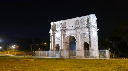 costantino : Triumphal Arch of Constantine. Night. Rome. Italy
