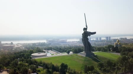 mamaev : Sculpture The Motherland Calls! - compositional center of the monument-ensemble to the Heroes of the Battle of Stalingrad on Mamayev Kurgan. Early morning. Volgograd, Russia, From Dron
